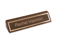 """Picture of Laser Engraved Gold Inlay Letters and Border on Walnut Desk Bar, 1 3/4"""" x 10 1/2"""""""