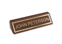 """Picture of Laser Engraved Gold Inlay Letters and Border on Walnut Desk Bar, 1 3/4"""" x 8 1/2"""""""