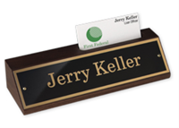 """Picture of Walnut Desk Block with Nameplate and Business Card Holder, 1 3/4"""" x 8 1/2"""""""