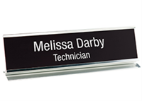 """Picture of Metal Desk Base Holder with Engraved Sign, 2"""" x 10"""""""