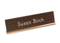 """Picture of Metal Desk Base Holder with Engraved Sign, 2"""" x 8"""""""