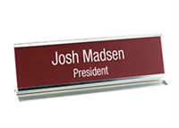 """Picture of Metal Desk Holder with Engraved Sign, 2"""" x 8"""""""