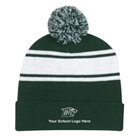 Picture of Embroidered Two Tone Knit Pom Beanie with Cuff