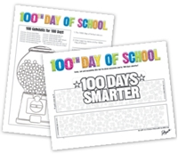 """Picture of 8.5"""" x 11"""" 100 Days of School Coloring Sheet"""