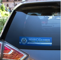 """Picture of 3"""" x 11 1/2"""" Rectangle National Blue Ribbon Window Decal"""