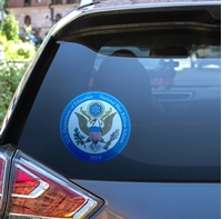 """Picture of 8"""" Circle National Blue Ribbon Window Decal"""