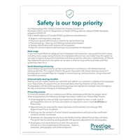 """Picture of Prestige Safety is our top priority Poster 8x5"""" x 11"""""""