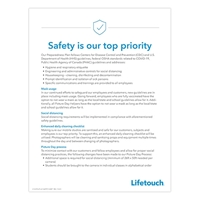 """Picture of  Safety is our top priority Poster 8x5"""" x 11"""""""